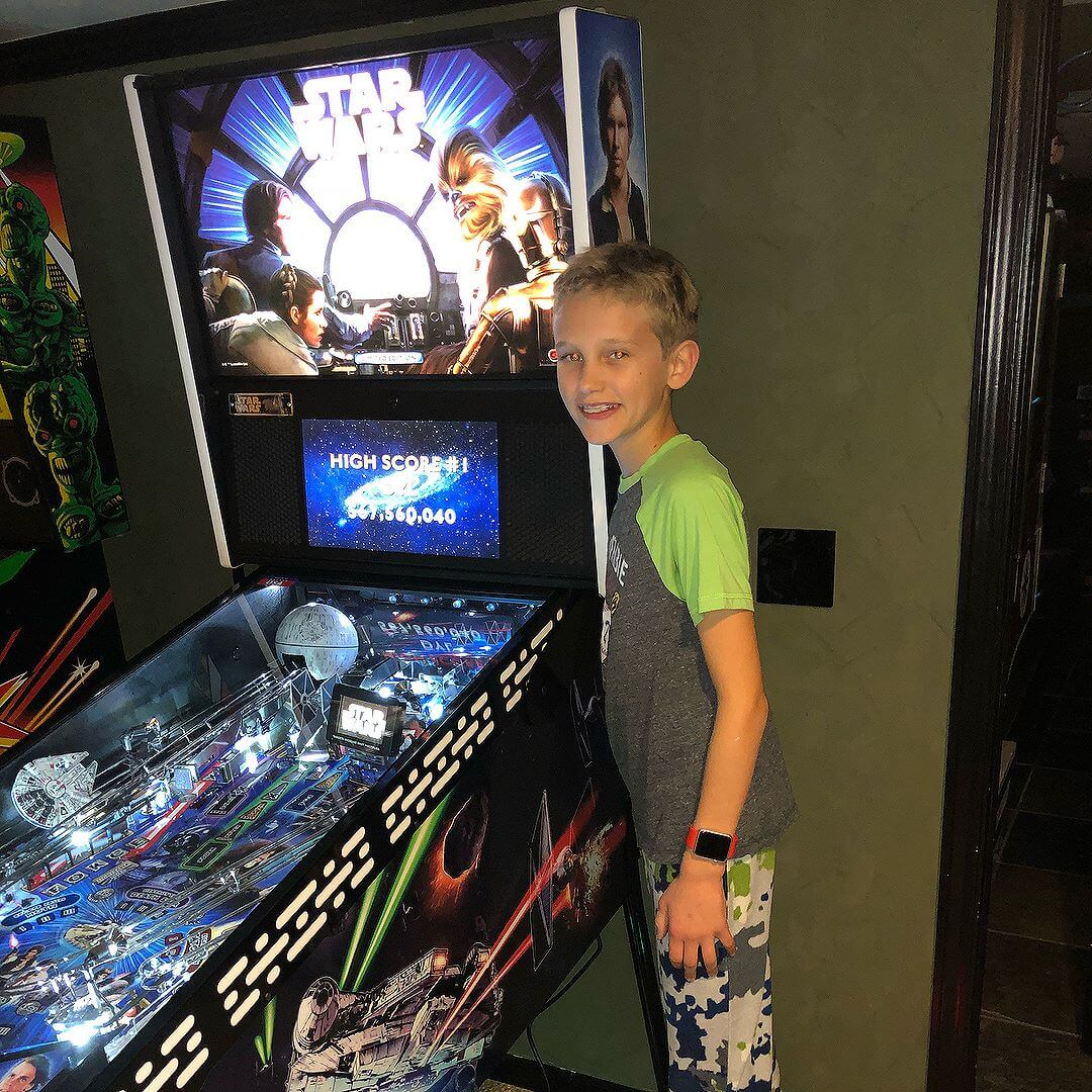 Dylan high score trans light contest.  Loves his Starwars